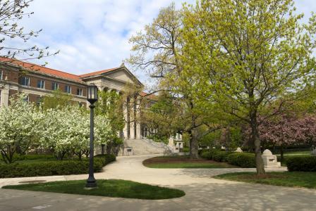 The Purdue Arboretum campus Hovde Hall Spring time