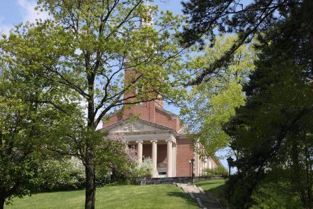 Chapel at Denison University trees
